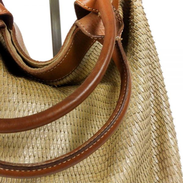 detail leather beige bag handmade and piece dyed manually