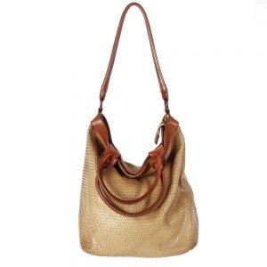 leather beige bag handmade and piece dyed manually