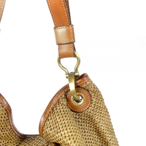 detail leather beige bag manufactured and piece dyed manually