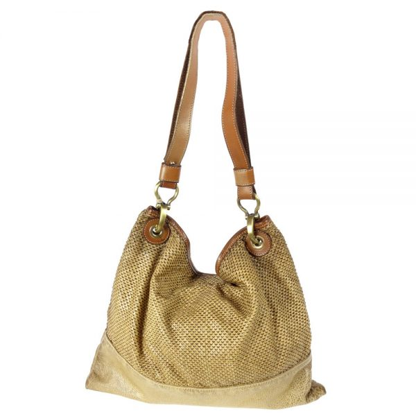 leather beige bag manufactured and piece dyed manually