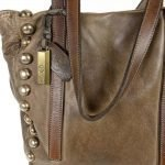 leather detail brown bag manufactured and piece dyed manually