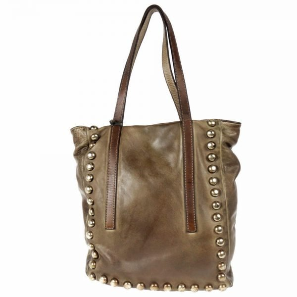 leather brown bag manufactured and piece dyed manually