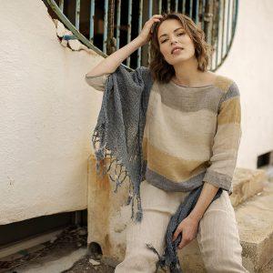 Handmade linen scarf denim