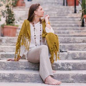 Handmade linen netted scarf mustard
