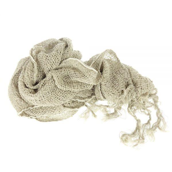 Handmade linen netted scarf beige