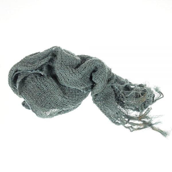 Handmade linen netted scarf denim