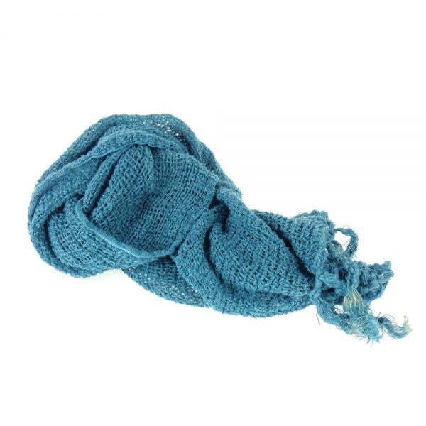 Handmade linen netted scarf blue