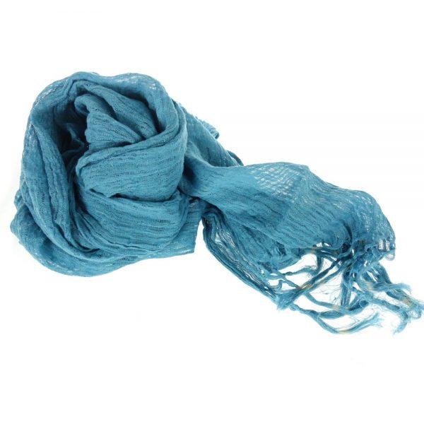 Handmade linen scarf blue
