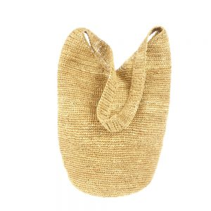 Handmade summer beige bag in natural fabric