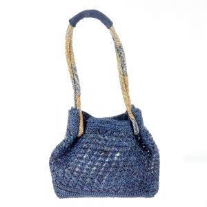 Handmade summer blue bag in natural fabric
