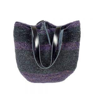 Handmade summer purple bag in natural fabric