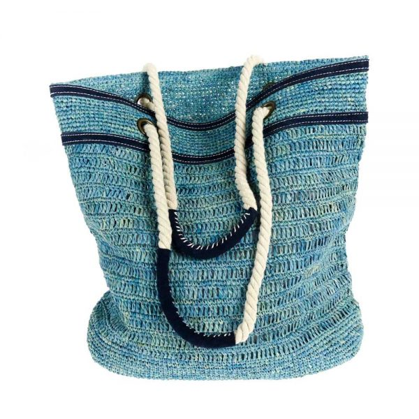 Handmade summer turquoise bag in natural fabric