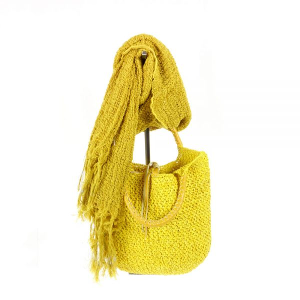 Handmade summer yellow bag in natural fabric with linen scarf