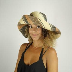 model with raffia colorful hat medium size