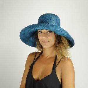 model with raffia blue hat medium size