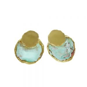 handmade earrings gold plated with oxidation treatment
