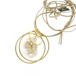 handmade necklace gold plated with semi-precious stone