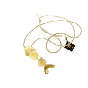 handmade fish necklace gold plated with citrine stone