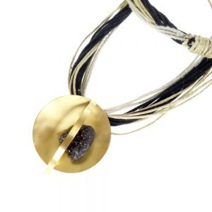 handmade necklace gold plated with black agate