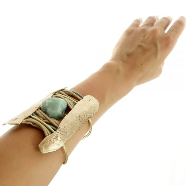 handmade bracelet gold plated with rough turquoise