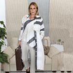 model with handmade linen summer sleeves long jacket with stripes for woman