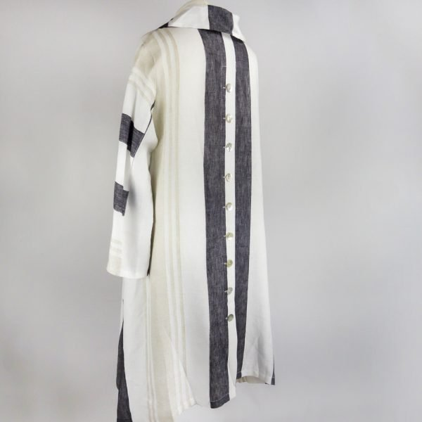 back of handmade sleeves long dress with stripes for woman made with natural fabric