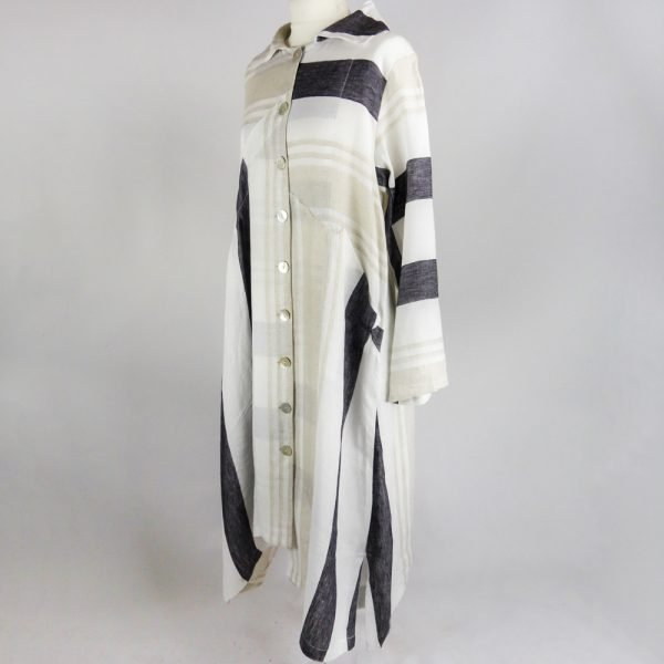handmade sleeves long dress with stripes for woman made with natural fabric