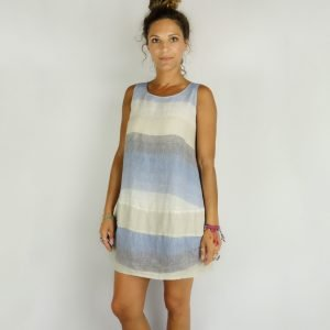 model with Handmade sleeveless short dress with stripes for woman made with natural fabric
