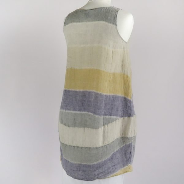 back handmade sleeveless short dress with stripes for woman made with natural fabric