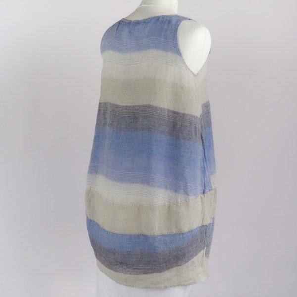 back handmade linen summer sleeveless short dress with blue stripes for woman