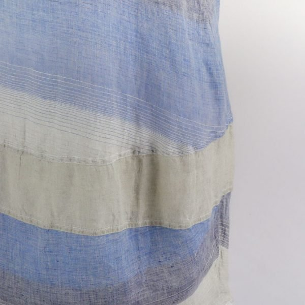 detail handmade linen dress with blue stripes for woman