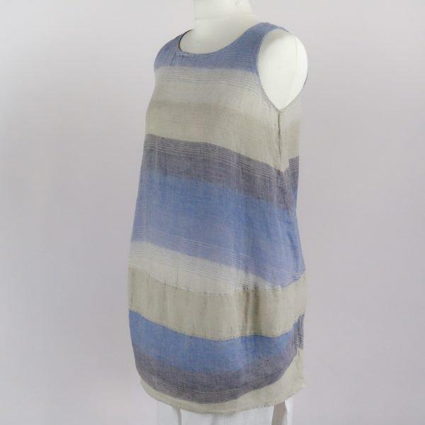 handmade linen summer sleeveless short dress with blue stripes for woman
