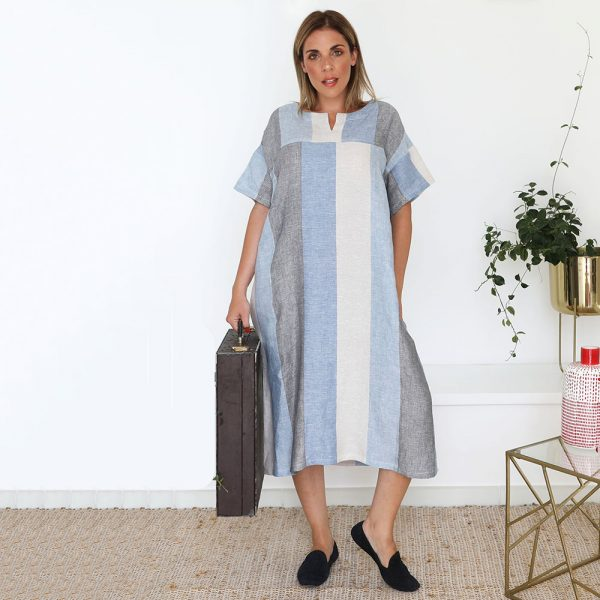 model with handmade sleeves long dress with stripes for woman made with natural fabric