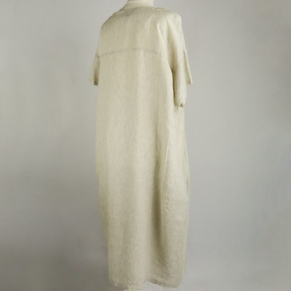 back of handmade linen summer sleeves long dress with stripes for woman