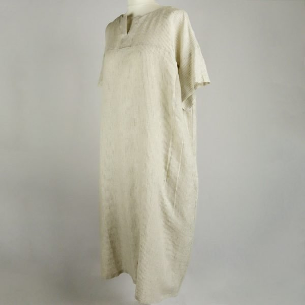 handmade linen summer sleeves long dress with stripes for woman