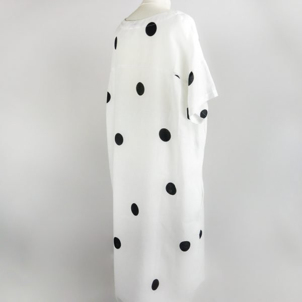 back of handmade linen summer sleeves long loose dress with dots for woman