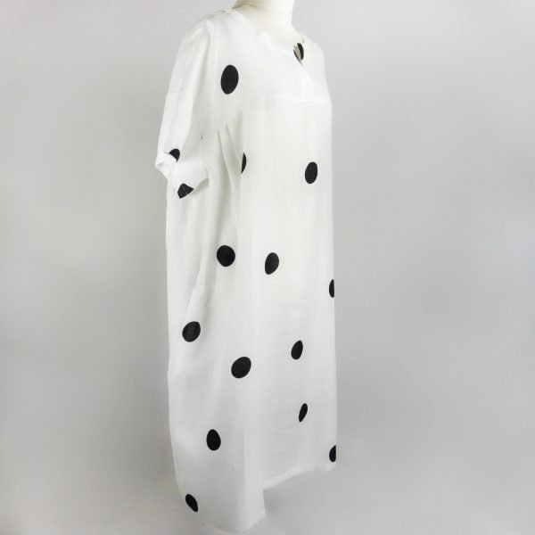 handmade linen summer sleeves long loose dress with dots for woman