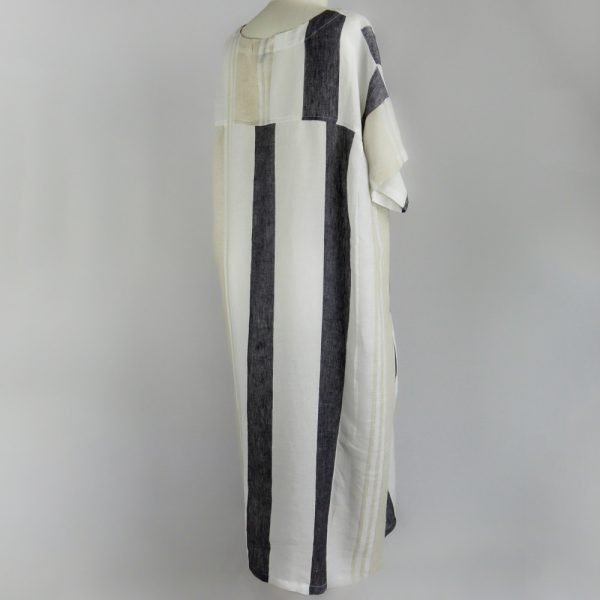 back of handmade linen summer sleeves long loose dress with stripes for woman