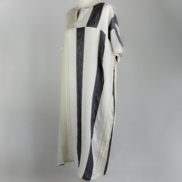 handmade linen summer sleeves long loose dress with stripes for woman