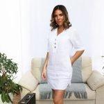 model with handmade linen summer sleeveless short white dress for woman