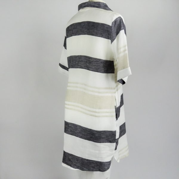back of handmade linen summer sleeves short dress with grey stripes for woman