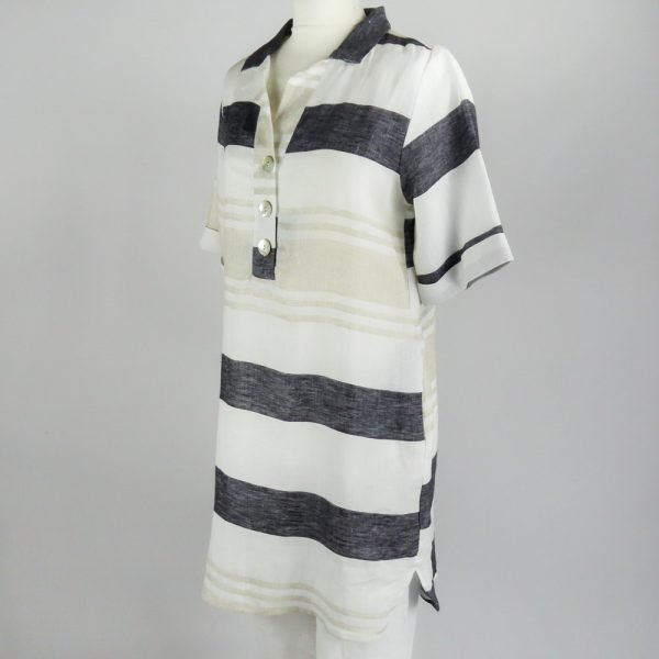 handmade linen summer sleeves short dress with grey stripes for woman
