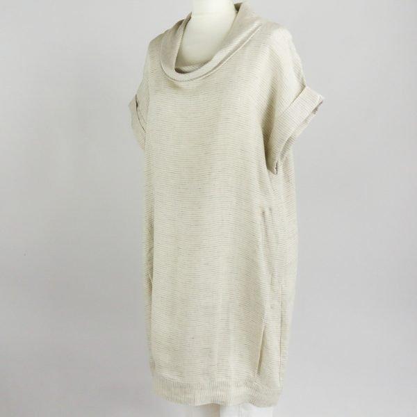 handmade linen summer sleeves short dress with stripes for woman