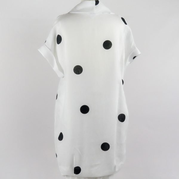back of handmade sleeves short white dress with dots for woman made with natural fabric