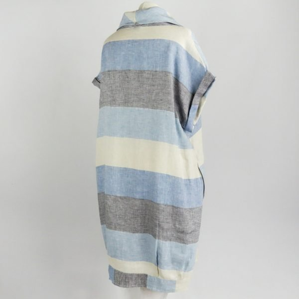 back of handmade linen summer sleeves short dress with blue stripes for woman
