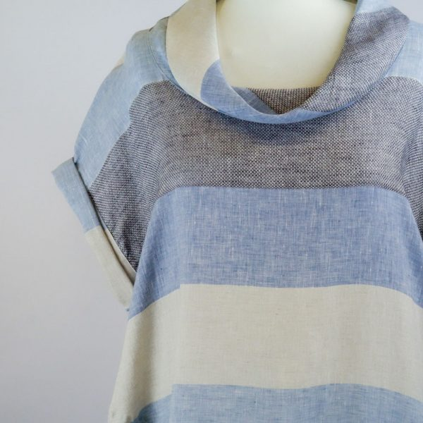 detail neck of handmade linen summer sleeves short dress with blue stripes for woman