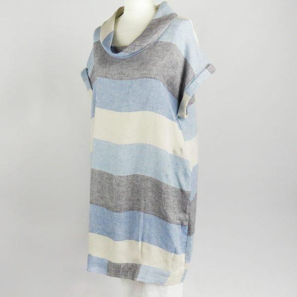 handmade linen summer sleeves short dress with blue stripes for woman