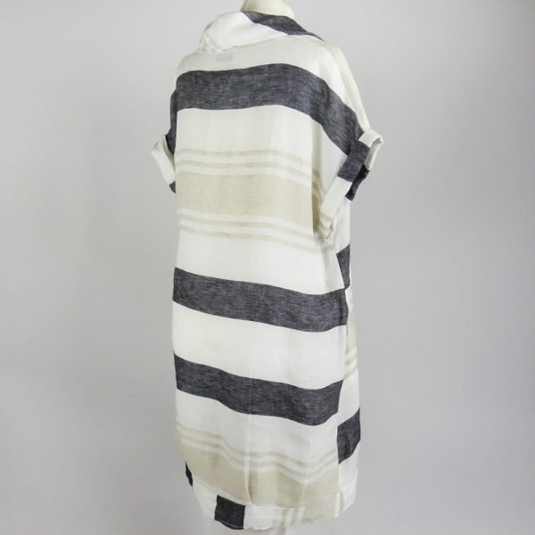 back of handmade linen summer sleeves short dress with stripes for woman