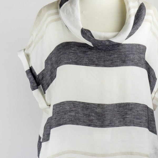 detail neck of handmade linen summer sleeves short dress with stripes for woman