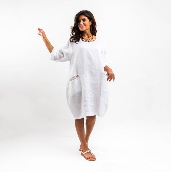 model with handmade linen summer sleeveless white dress for woman